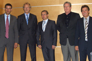 Jörg Freitag, PNO; Hartmut Wallraf, Invensys; Daniel Huber, ABB; Bill Tatum, Fieldbus Foundation; Hans-Georg Kumpfmüller, Chairman of the ECT