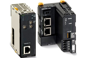 Omron Electronics has launched two Profinet products. One module (PNT21, left in photo) is for the CJ1 programmable controller, which is Omron's main PLC range. Setup and monitoring is supported using FDT configuration tools. Right: Omron's SmartSlic