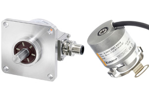"Kübler boasts their new generation of Sendix F36 encoders (right) 'must surely make potentiometers a thing of the past.' On the left is a ""bulletproof"" stainless steel incremental encoder."