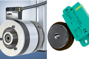 Left: Balluff's S2E Rotary BML provides a quadrature output at up to 46,000 pulses per revolution. Right: Pepperl+Fuchs' magnetic incremental rotary encoder.