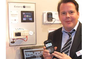 Christian Schad, showing his PLC-to-BlackBerry concept at SPS