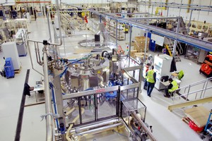 The plant floor at Cusson's liquids manufacturing facility in Manchester