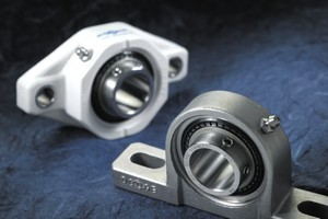 Baldor's new ball bearings are available in stainless steel or polymer housings