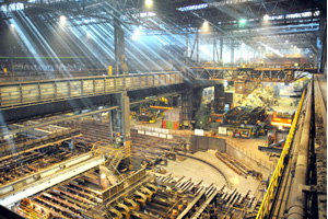 HKM (Hüttenwerke Krupp Mannesmann) produces preliminary products used in steel production in Duisburg – slabs and billets (round steel bars).