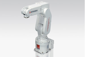 Sensor guided real-time control: taking its first European bow, Mitsubishi's mobile six axis articulated-arm robot RV-2SDB.