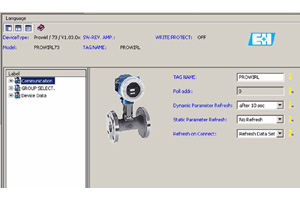 DTM software supplied by Endress+Hauser for configuring the instruments on the Fieldbus Foundation network.