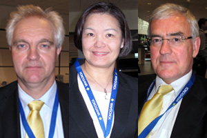 Yokogawa Wireless Team: Joost van Loon, Director Industrial Automation, Penny Chen, PhD, Vice Chairman WCI, Yokogawa Global Marketing, and Henk A. van der Bent, Marketing Manager, Field Networks
