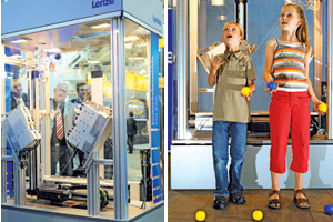 "Left: ""Jongliermaschine"" at Hannover Fair; right: creative thinkers Ole and Birthe Harms"