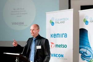 Olli Tevä, Vacon's marketing director for renewable energy, speaking at the Cleantech event