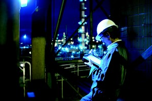 Mobile worker monitors process and plant applications with Emerson's Smart Wireless Solutions