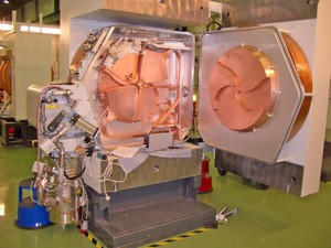 Cyclotron open to show construction
