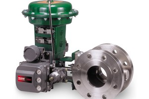 The Fisher FIELDVUE digital valve controller installed on a Fisher Vee-Ball segmented ball valve
