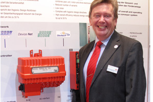 Claus Wieder shows the new MOVIGEAR® variations, for standalone and AS-i operation.