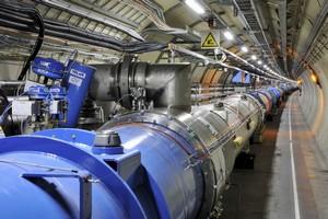 The underground circular track of the LHC, 27 km in length