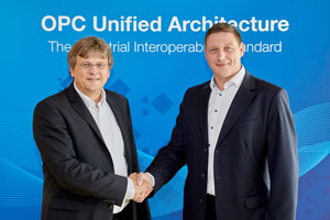 Michael Schweiger (right) of Volkwagen with Stefan Hoppe, president of the OPC Foundation.