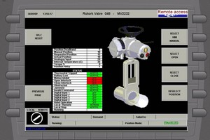 One of the Rotork actuator diagnostic touch screen HMI displays on the site's SCADA system