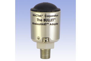 MACTek's WirelessHART adapter—otherwise known as the 'Bullet'—connects to any wired HART device to allow it to transmit wirelessly, while maintaining the 4-20 mA communications loop. Up to eight instruments can be multi-dropped with a single Bullet.