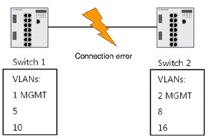 Figure 1 'VLAN Misconfiguration': In a physical context, different VLAN IDs are configured on two switches. An analysis of the Port and Protocol VLAN information provided in the LLDP-EXT-DOT1-MIB allows to detect differing VLAN settings between infra