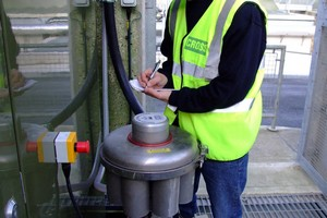A service engineer records the backwash count on the Cross Phoenix filter installed at Wessex Water Bridport Sewage Treatment Works