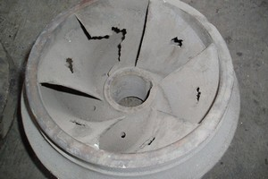 Cavitation damage in an impeller